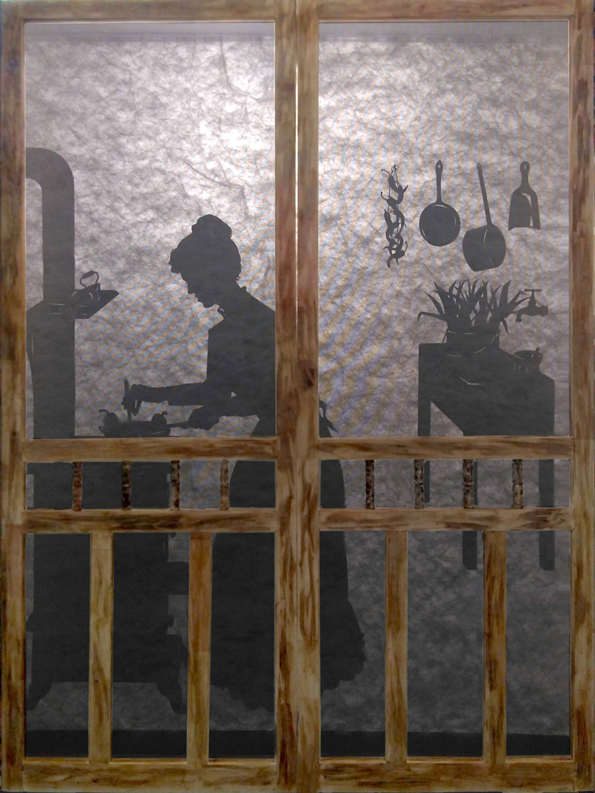 Silhouette of a woman in 19th century kitchen making chille relleno on an iron stove